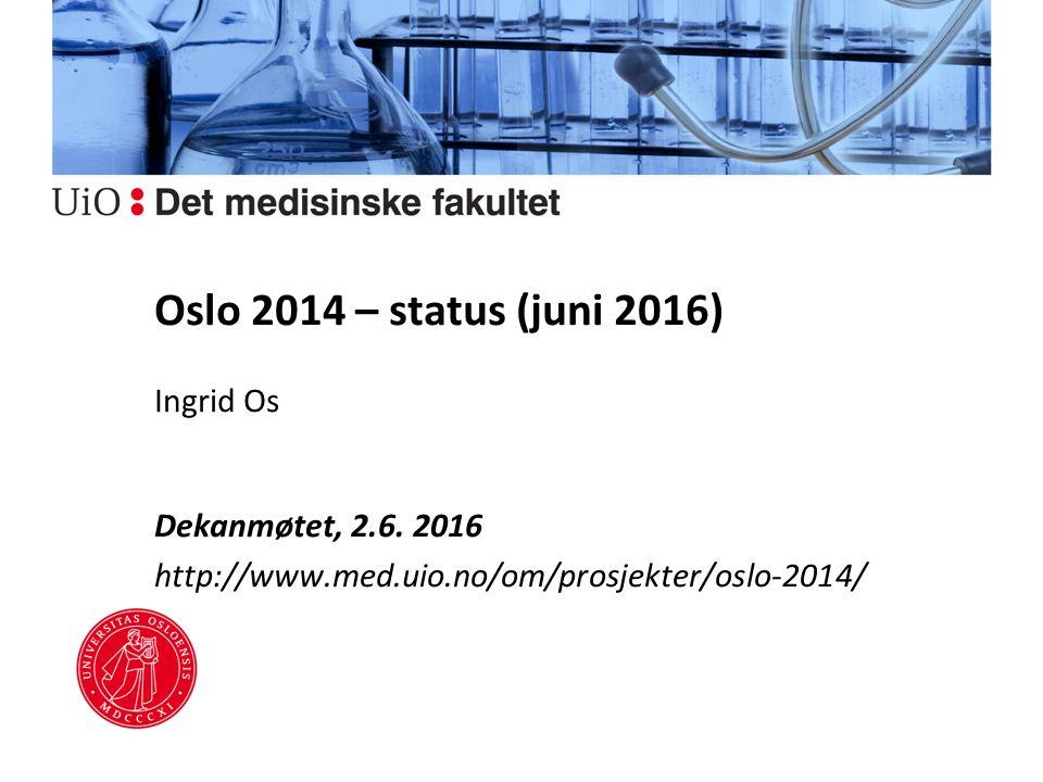 Oslo 2014 – status (juni 2016) Ingrid Os Dekanmøtet, 2.6.