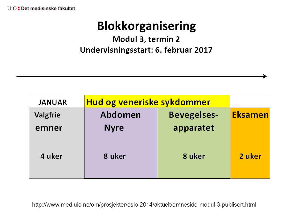 Blokkorganisering Modul 3, termin 2 Undervisningsstart: 6.