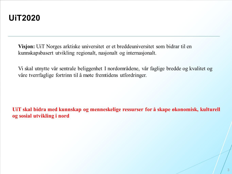 UiT2020 3 Visjon: UiT Norges arktiske universitet er et breddeuniversitet som bidrar til en kunnskapsbasert utvikling regionalt, nasjonalt og internasjonalt.