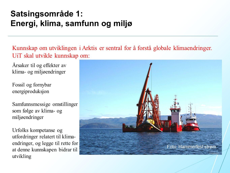 Satsingsområde 1: Energi, klima, samfunn og miljø Foto: Hammerfest strøm Kunnskap om utviklingen i Arktis er sentral for å forstå globale klimaendringer.