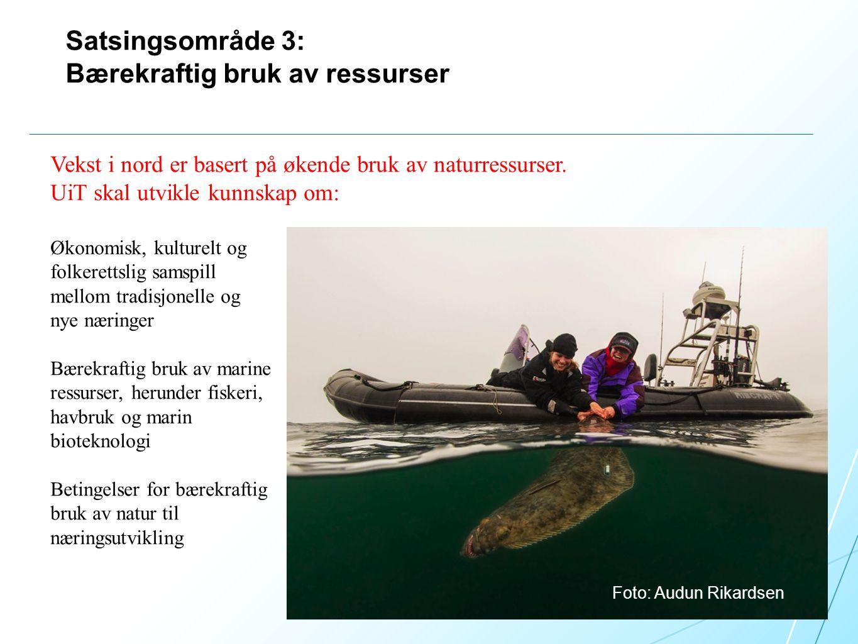 Satsingsområde 3: Bærekraftig bruk av ressurser Foto: Audun Rikardsen Vekst i nord er basert på økende bruk av naturressurser.