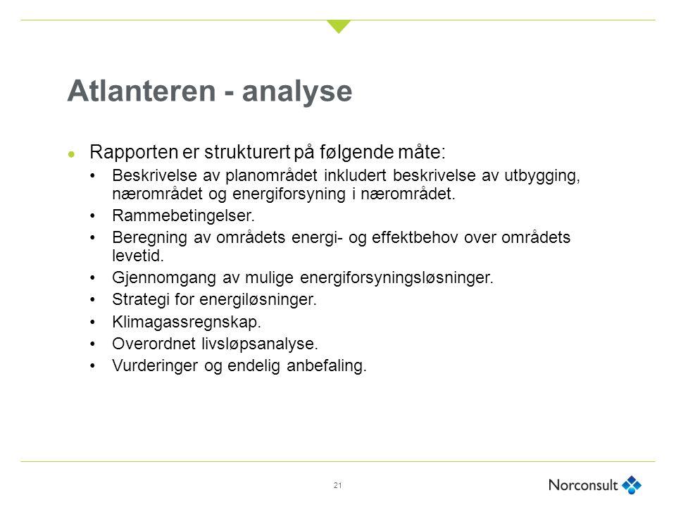 Atlanteren - analyse ● Rapporten er strukturert på følgende måte: Beskrivelse av planområdet inkludert beskrivelse av utbygging, nærområdet og energiforsyning i nærområdet.