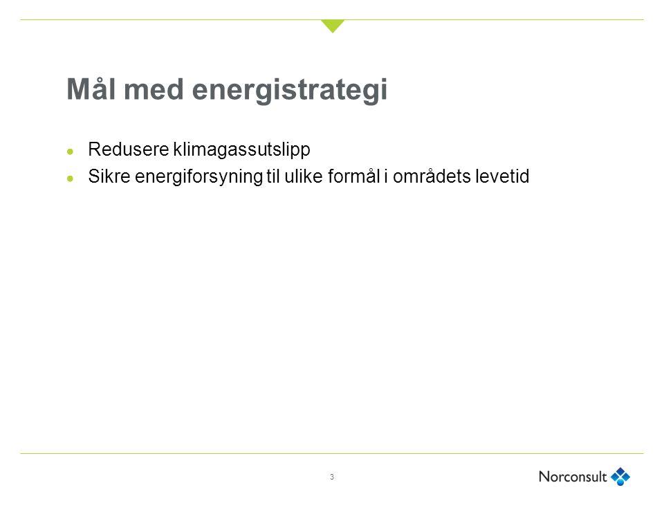 Mål med energistrategi ● Redusere klimagassutslipp ● Sikre energiforsyning til ulike formål i områdets levetid 3
