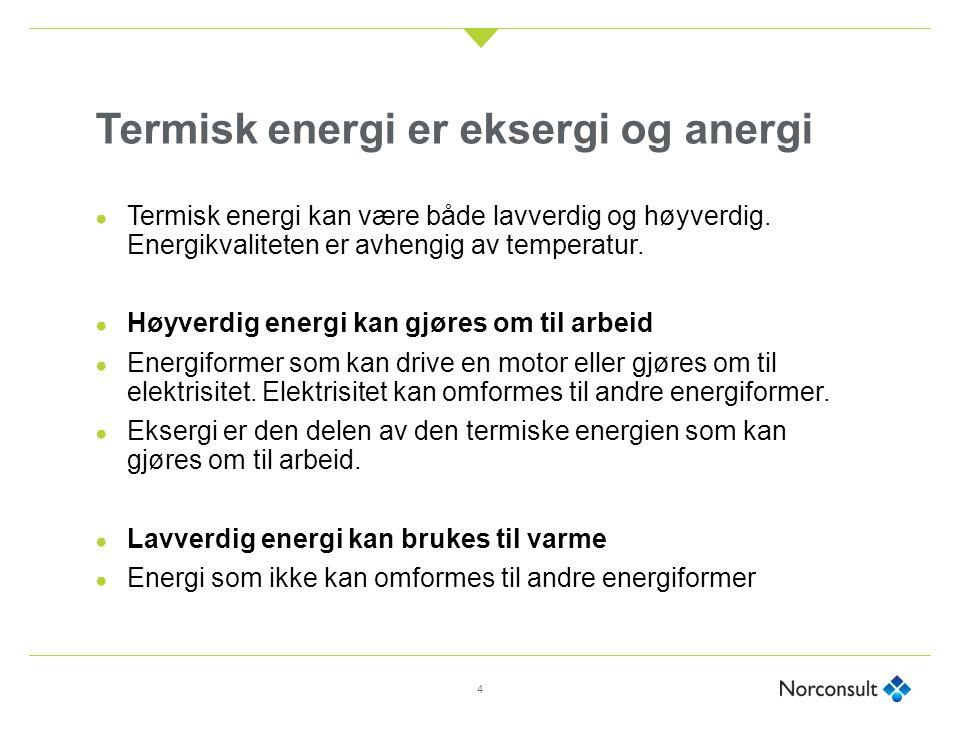 Termisk energi er eksergi og anergi ● Termisk energi kan være både lavverdig og høyverdig. Energikvaliteten er avhengig av temperatur. ● Høyverdig ene