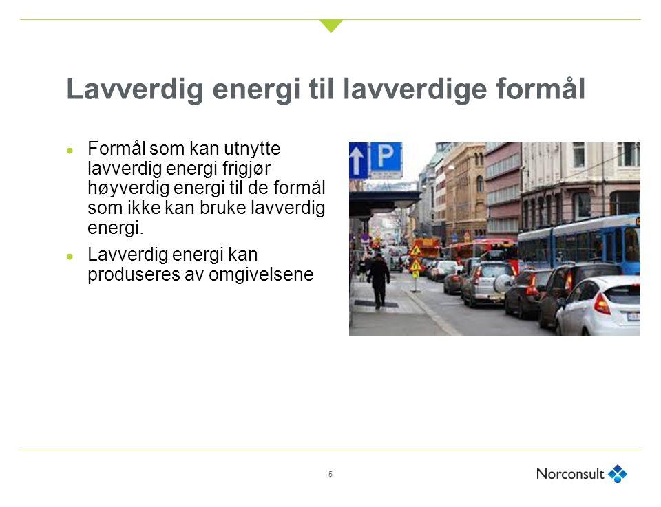Lavverdig energi til lavverdige formål 5 ● Formål som kan utnytte lavverdig energi frigjør høyverdig energi til de formål som ikke kan bruke lavverdig