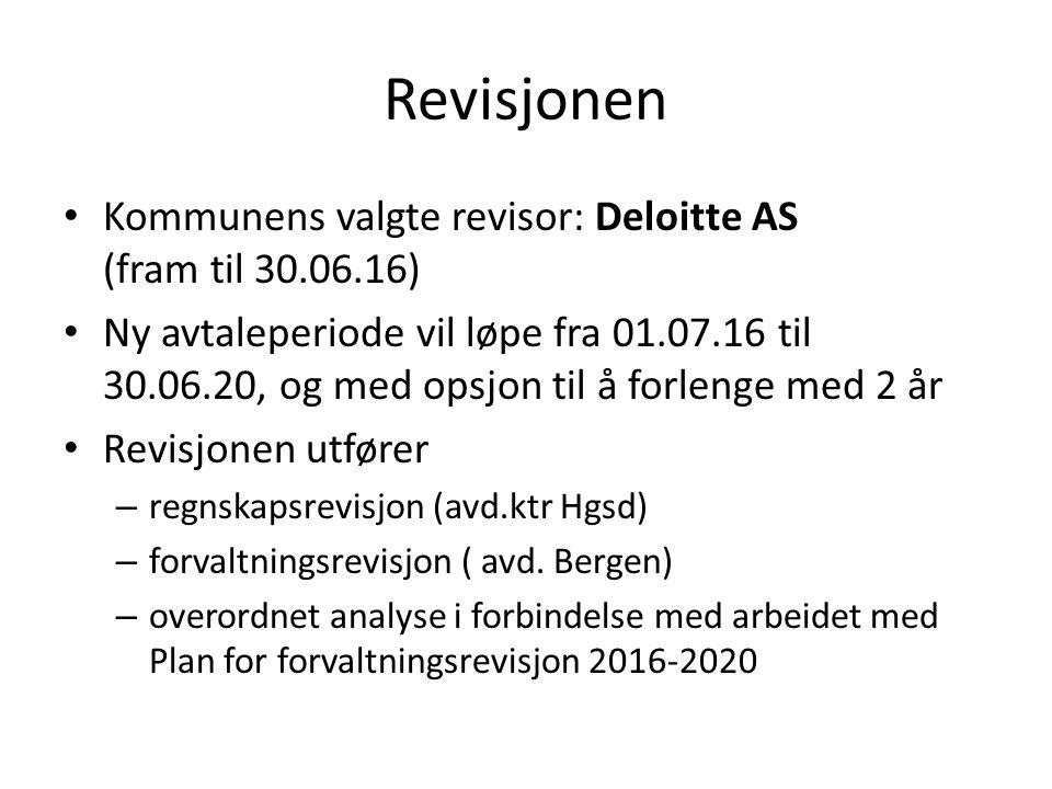 Revisjonen Kommunens valgte revisor: Deloitte AS (fram til 30.06.16) Ny avtaleperiode vil løpe fra 01.07.16 til 30.06.20, og med opsjon til å forlenge med 2 år Revisjonen utfører – regnskapsrevisjon (avd.ktr Hgsd) – forvaltningsrevisjon ( avd.