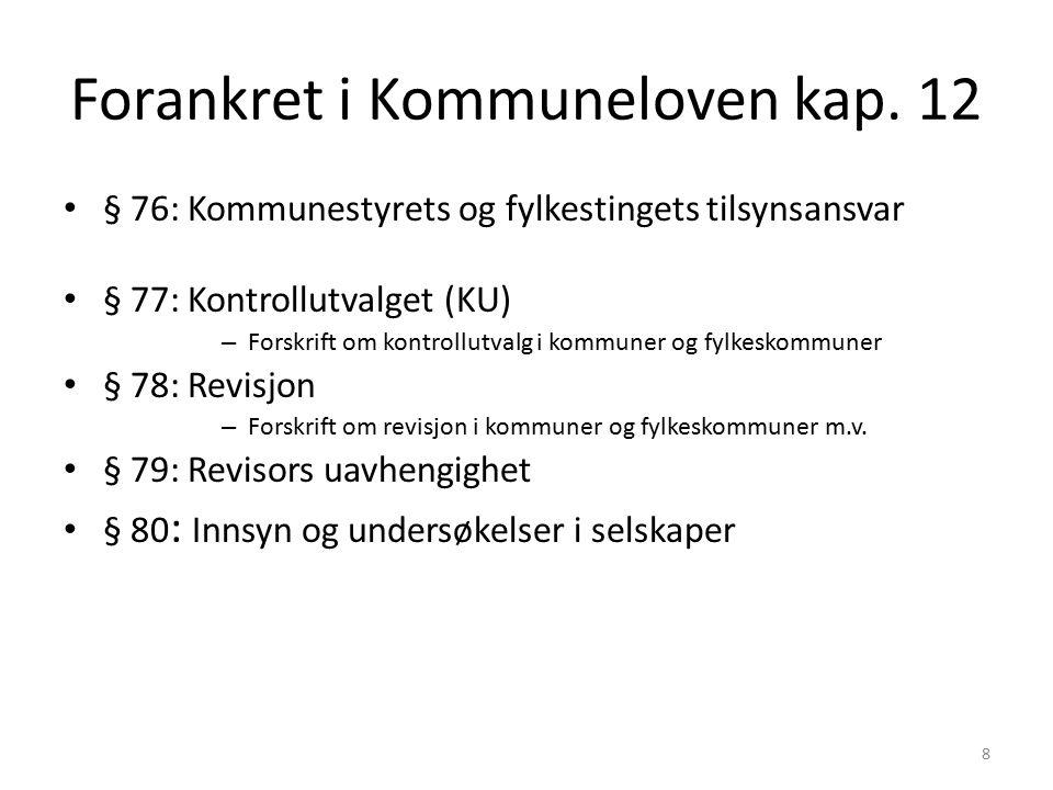 9 § 76 Kommunestyrets tilsynsansvar Har det øverste tilsyn med den kommunale forvaltning – Skal påse at de kommunale regnskaper revideres på betryggende måte