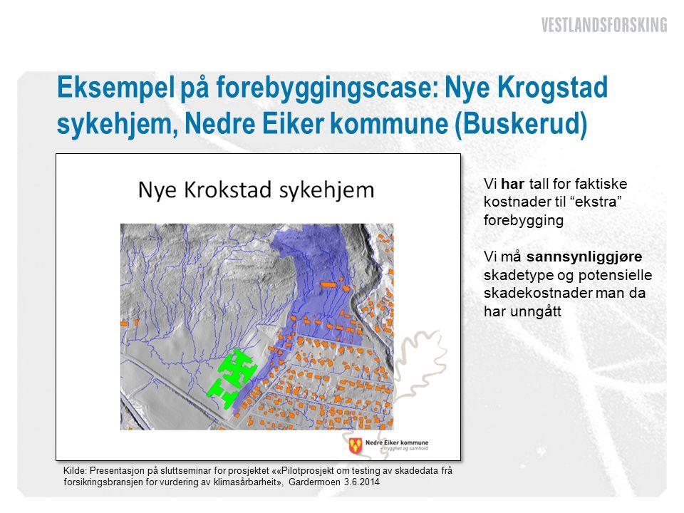 Eksempel på forebyggingscase: Nye Krogstad sykehjem, Nedre Eiker kommune (Buskerud) Kilde: Presentasjon på sluttseminar for prosjektet ««Pilotprosjekt om testing av skadedata frå forsikringsbransjen for vurdering av klimasårbarheit», Gardermoen 3.6.2014 Vi har tall for faktiske kostnader til ekstra forebygging Vi må sannsynliggjøre skadetype og potensielle skadekostnader man da har unngått