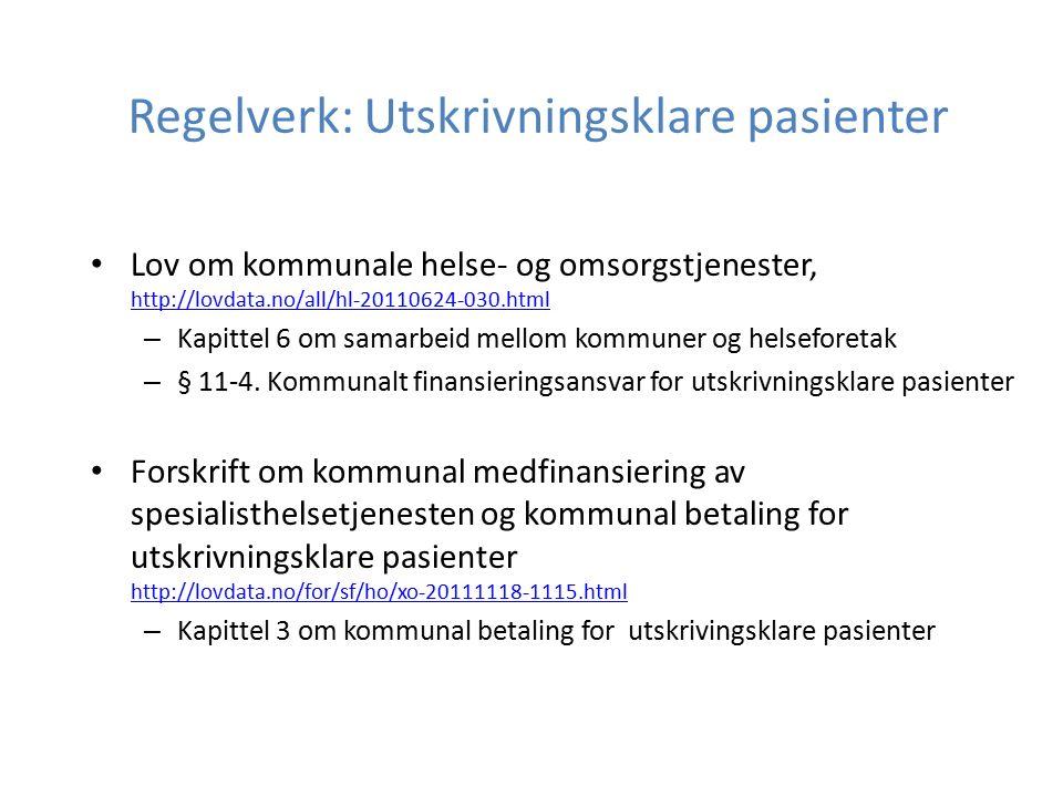 Regelverk: Utskrivningsklare pasienter Lov om kommunale helse- og omsorgstjenester, http://lovdata.no/all/hl-20110624-030.html http://lovdata.no/all/h