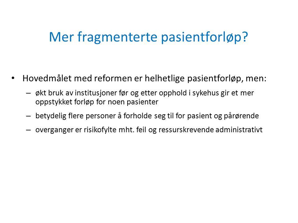 Mer fragmenterte pasientforløp? Hovedmålet med reformen er helhetlige pasientforløp, men: – økt bruk av institusjoner før og etter opphold i sykehus g