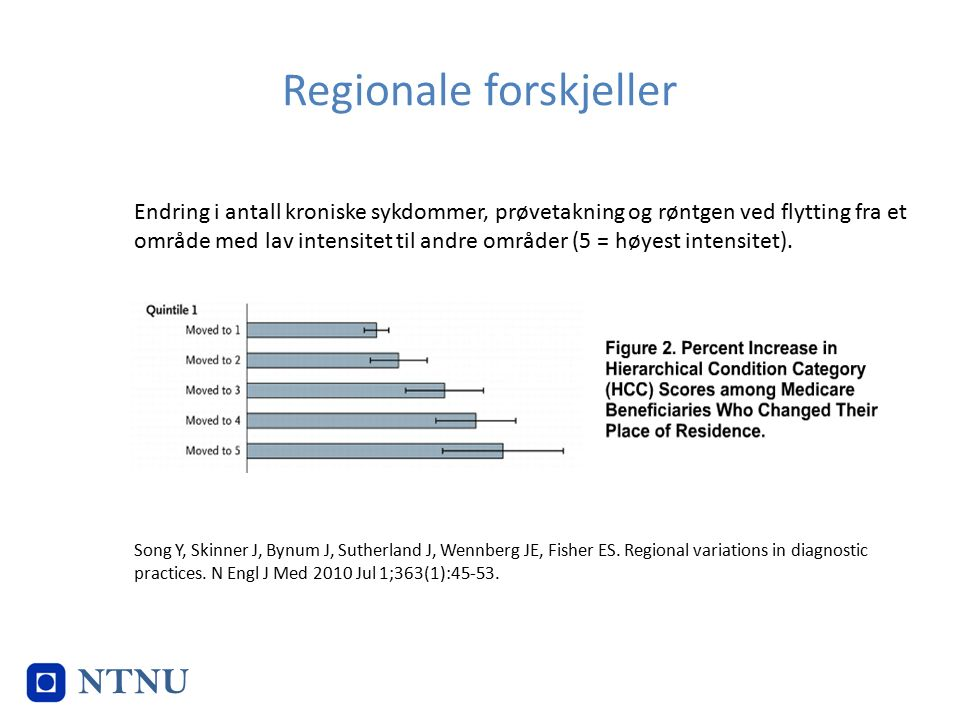 Regionale forskjeller Song Y, Skinner J, Bynum J, Sutherland J, Wennberg JE, Fisher ES. Regional variations in diagnostic practices. N Engl J Med 2010