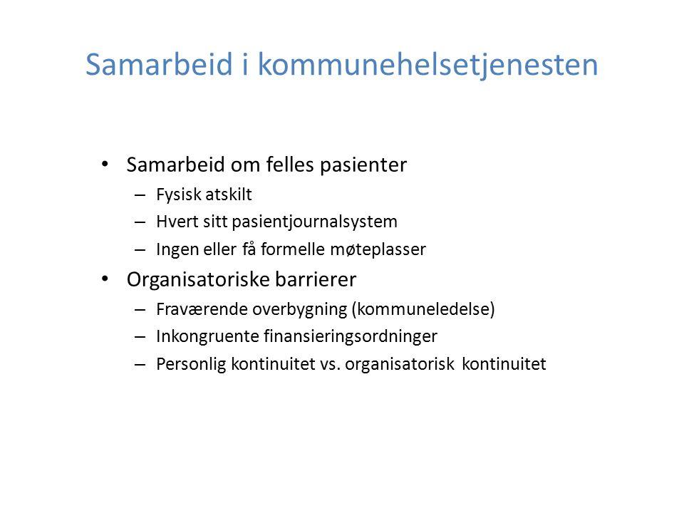 Samarbeid i kommunehelsetjenesten Samarbeid om felles pasienter – Fysisk atskilt – Hvert sitt pasientjournalsystem – Ingen eller få formelle møteplass