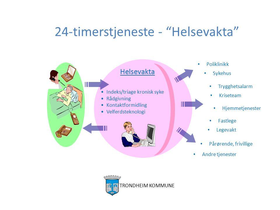 "24-timerstjeneste - ""Helsevakta"" Andre tjenester Fastlege Poliklinikk Hjemmetjenester Sykehus Pårørende, frivillige Helsevakta Indeks/triage kronisk s"