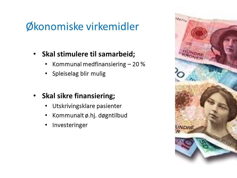 Økonomiske virkemidler Skal stimulere til samarbeid; Kommunal medfinansiering – 20 % Spleiselag blir mulig Skal sikre finansiering; Utskrivingsklare p