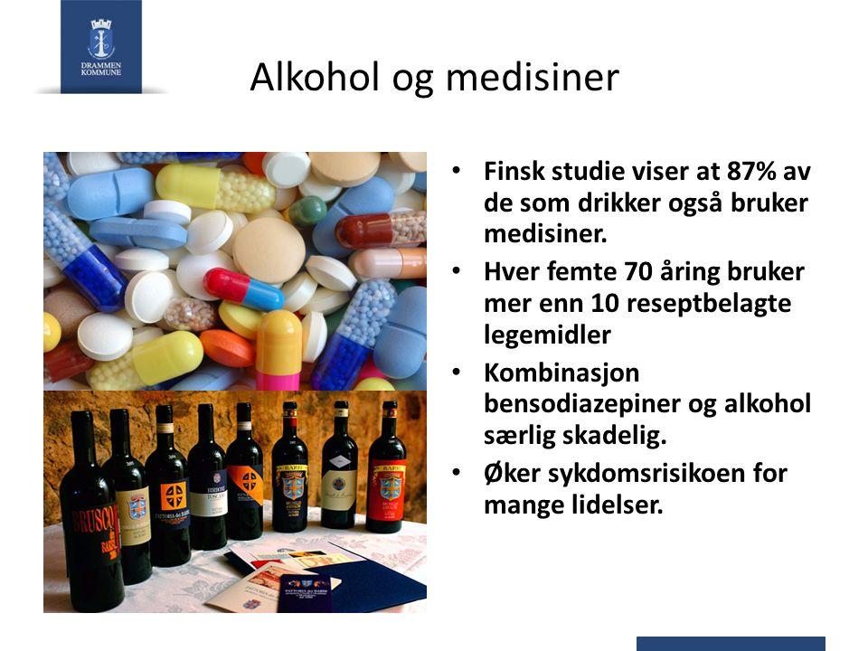 Alkohol og medisiner Finsk studie viser at 87% av de som drikker også bruker medisiner.