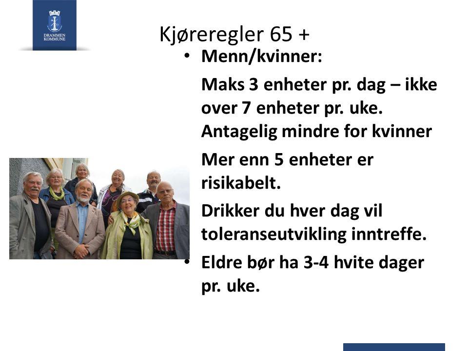 Kjøreregler 65 + Menn/kvinner: Maks 3 enheter pr. dag – ikke over 7 enheter pr.