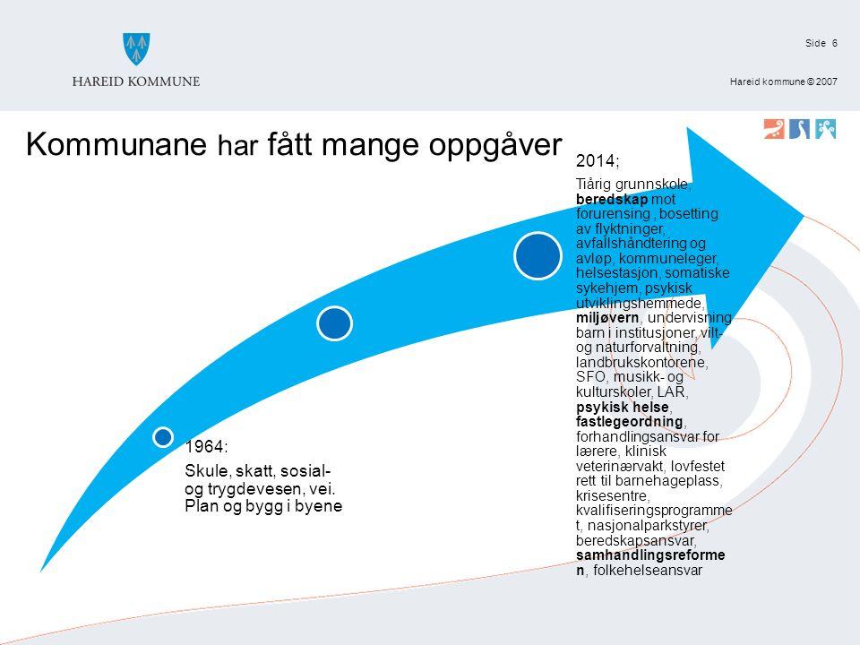 Side Hareid kommune © 2007 6 Kommunane har fått mange oppgåver 1964: Skule, skatt, sosial- og trygdevesen, vei.