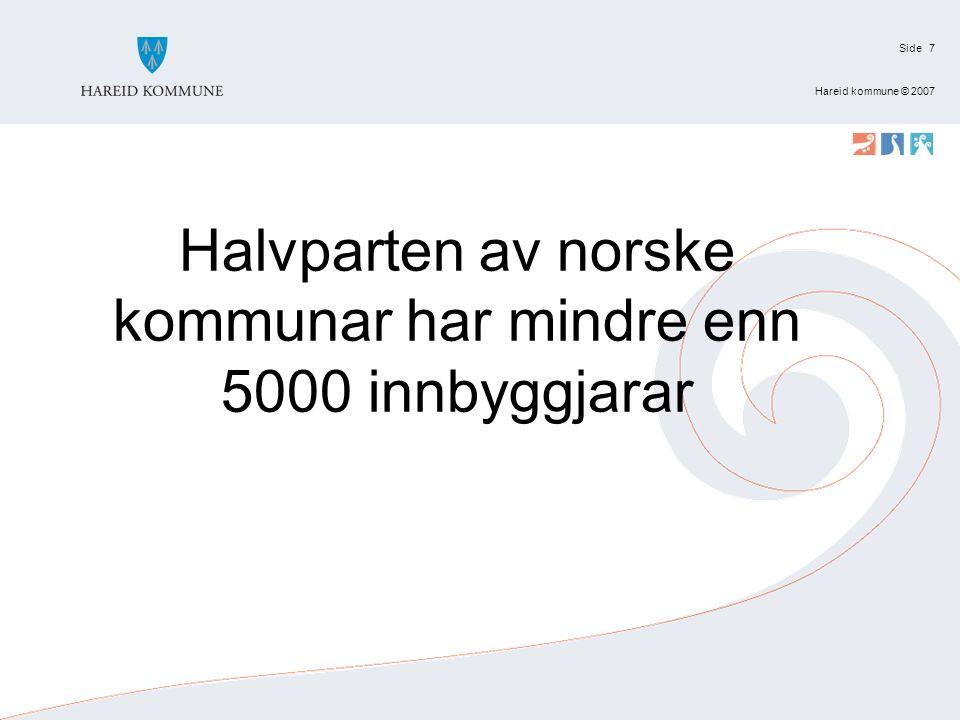 Side Hareid kommune © 2007 7 Halvparten av norske kommunar har mindre enn 5000 innbyggjarar