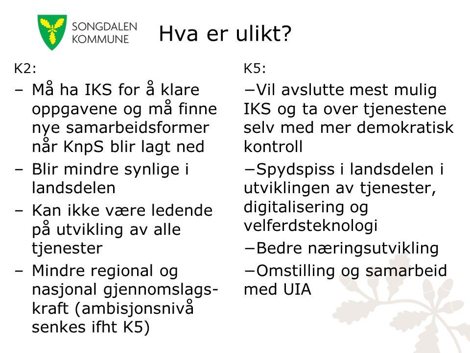 Hva er ulikt? K2: –Må ha IKS for å klare oppgavene og må finne nye samarbeidsformer når KnpS blir lagt ned –Blir mindre synlige i landsdelen –Kan ikke