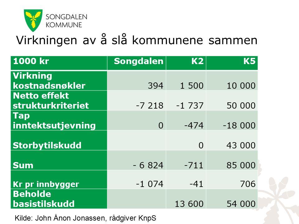Virkningen av å slå kommunene sammen 1000 krSongdalenK2K5 Virkning kostnadsnøkler3941 50010 000 Netto effekt strukturkriteriet-7 218-1 73750 000 Tap i