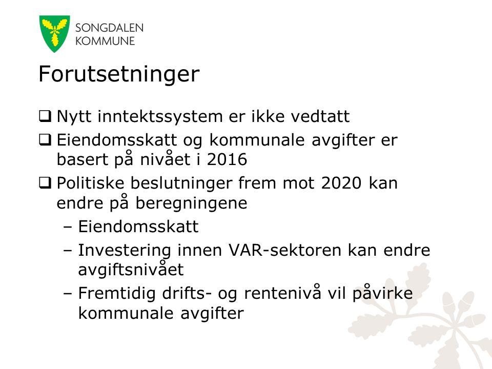 Forutsetninger  Nytt inntektssystem er ikke vedtatt  Eiendomsskatt og kommunale avgifter er basert på nivået i 2016  Politiske beslutninger frem mo