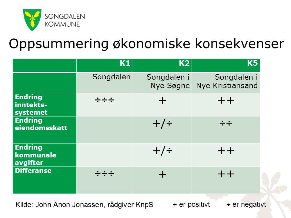 Oppsummering økonomiske konsekvenser K1K2K5 SongdalenSongdalen i Nye Søgne Songdalen i Nye Kristiansand Endring inntekts- systemet ÷÷÷+++ Endring eiendomsskatt +/÷÷÷ Endring kommunale avgifter +/÷++ Differanse ÷÷÷+++ + er positivt ÷ er negativt Kilde: John Ånon Jonassen, rådgiver KnpS
