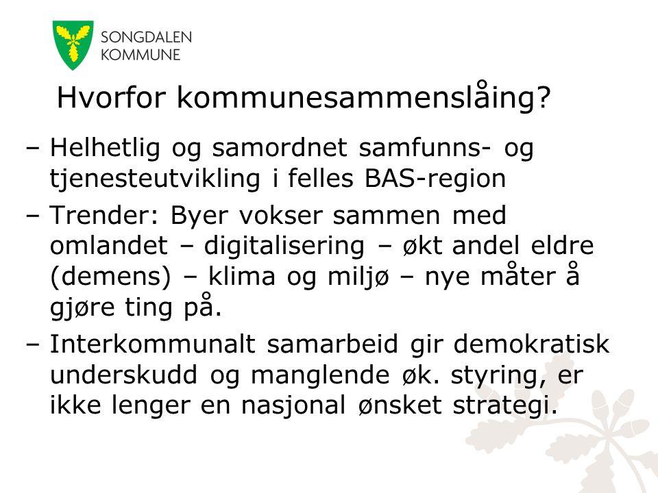 –Helhetlig og samordnet samfunns- og tjenesteutvikling i felles BAS-region –Trender: Byer vokser sammen med omlandet – digitalisering – økt andel eldr