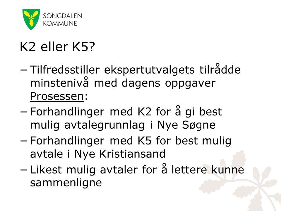 K2 eller K5? −Tilfredsstiller ekspertutvalgets tilrådde minstenivå med dagens oppgaver Prosessen: −Forhandlinger med K2 for å gi best mulig avtalegrun