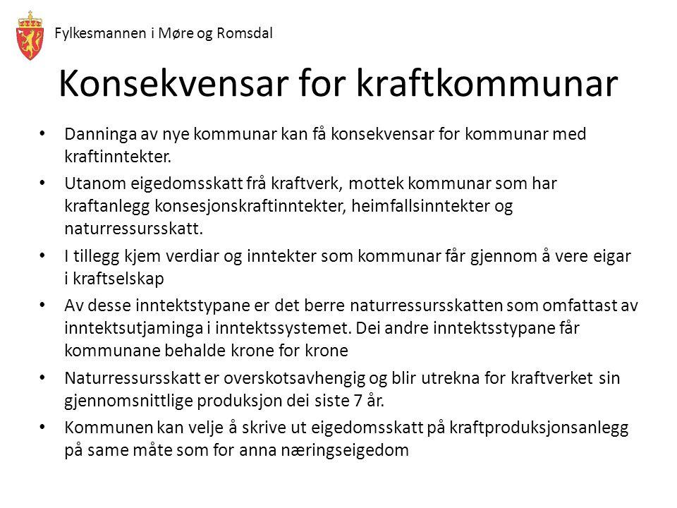 Fylkesmannen i Møre og Romsdal Konsekvensar for kraftkommunar Danninga av nye kommunar kan få konsekvensar for kommunar med kraftinntekter. Utanom eig