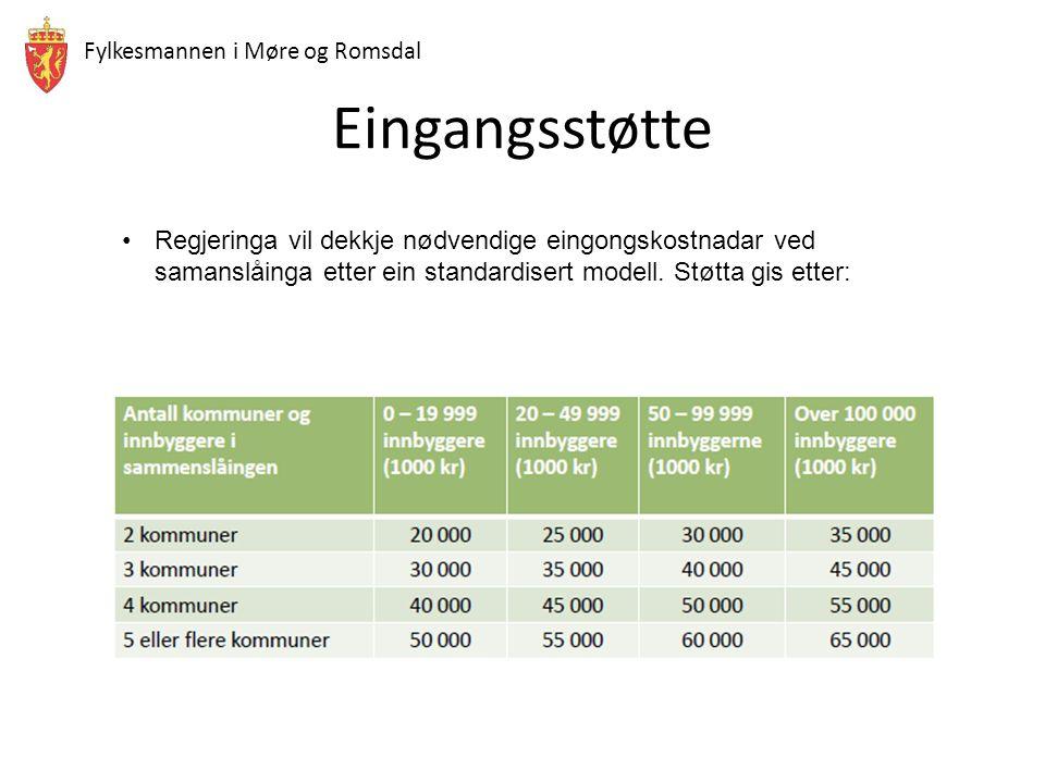 Fylkesmannen i Møre og Romsdal Eingangsstøtte Regjeringa vil dekkje nødvendige eingongskostnadar ved samanslåinga etter ein standardisert modell. Støt