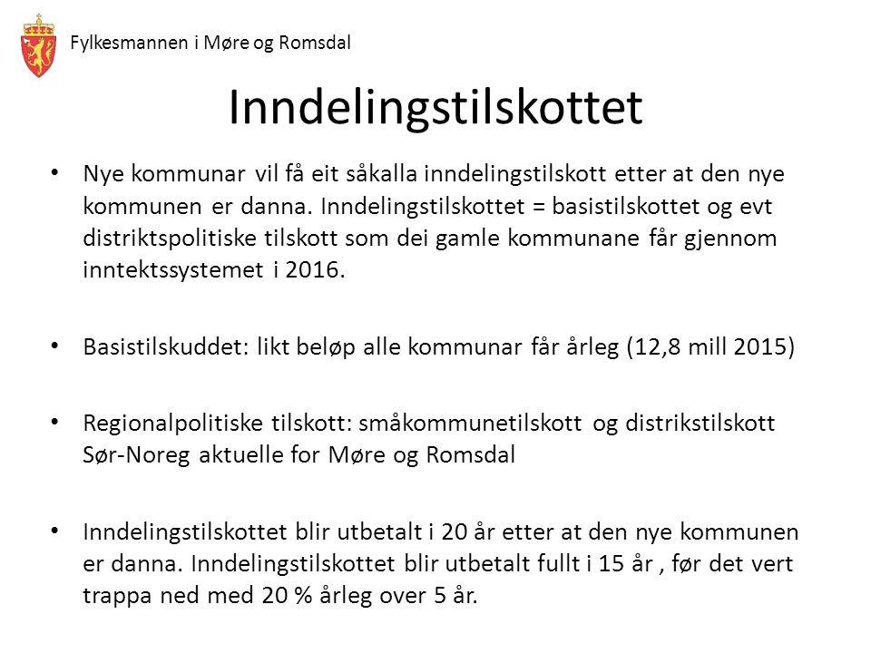 Fylkesmannen i Møre og Romsdal Inndelingstilskottet Nye kommunar vil få eit såkalla inndelingstilskott etter at den nye kommunen er danna. Inndelingst