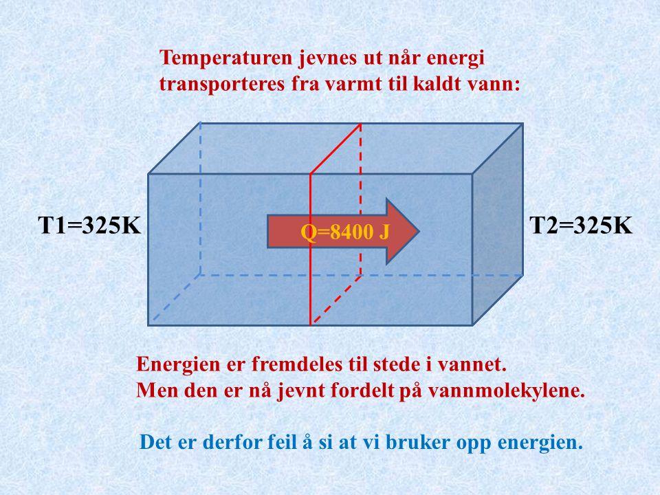 Q=8400 J Temperaturen jevnes ut når energi transporteres fra varmt til kaldt vann: Energien er fremdeles til stede i vannet.