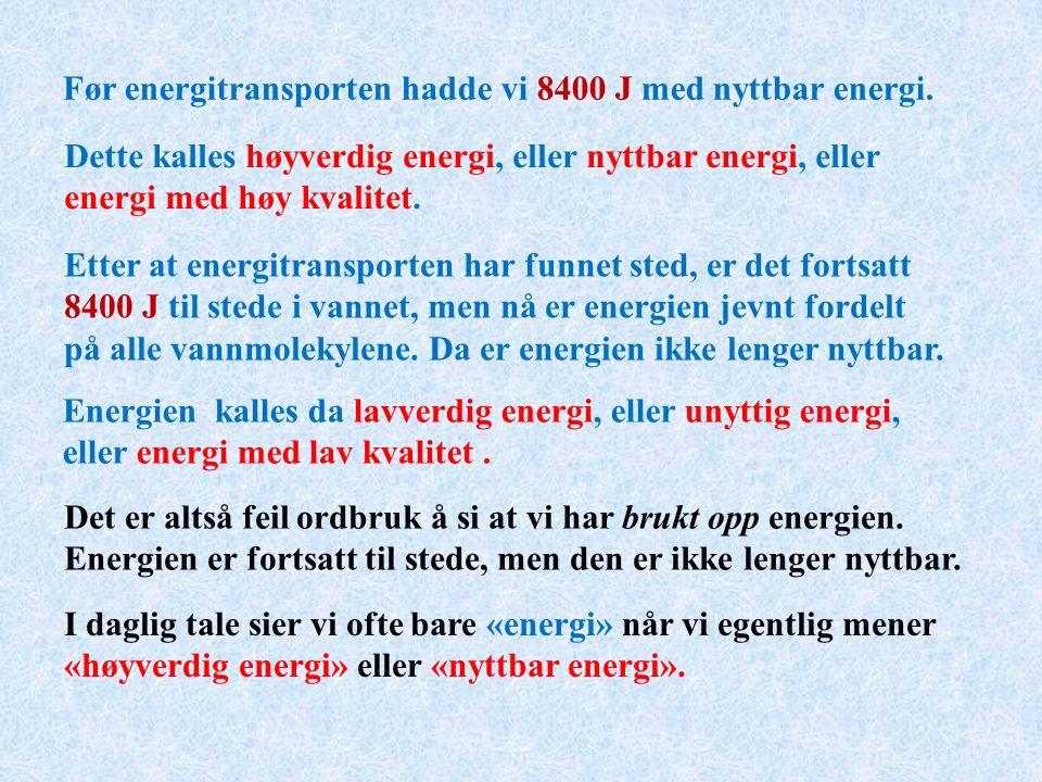 Før energitransporten hadde vi 8400 J med nyttbar energi.