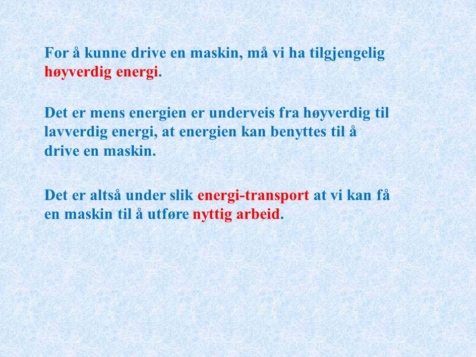 For å kunne drive en maskin, må vi ha tilgjengelig høyverdig energi.