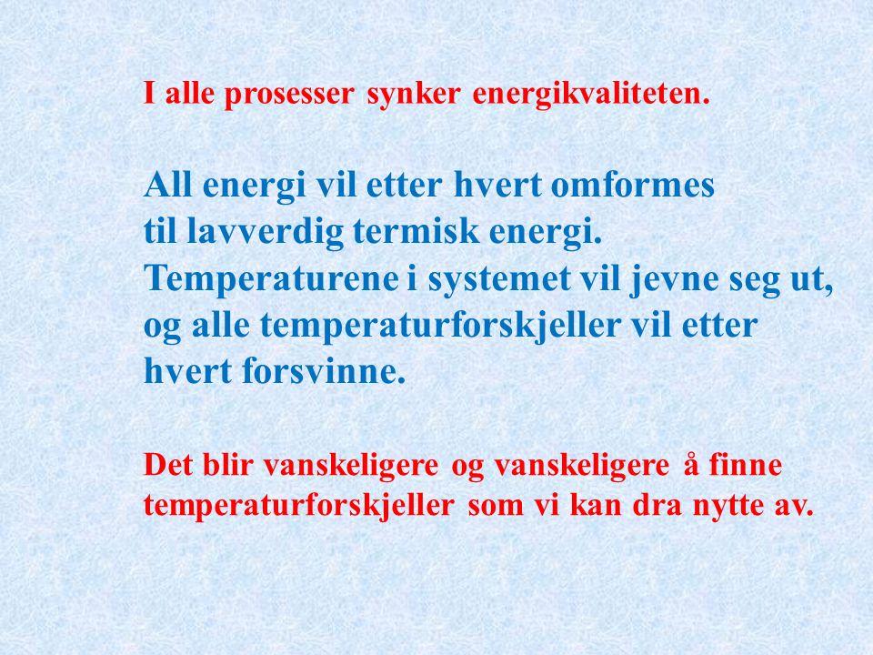 I alle prosesser synker energikvaliteten.