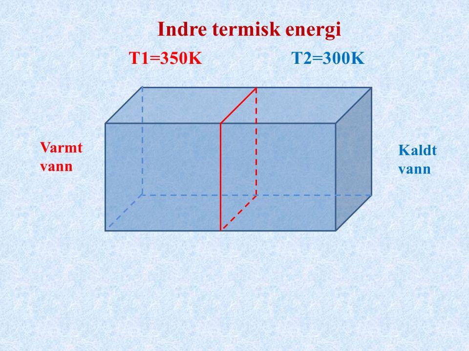 T1=350KT2=300K Varmt vann Kaldt vann Indre termisk energi