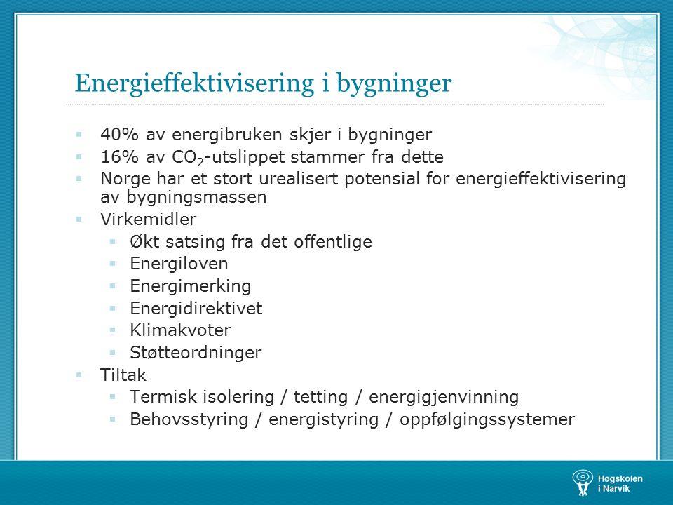 Energieffektivisering i bygninger  40% av energibruken skjer i bygninger  16% av CO 2 -utslippet stammer fra dette  Norge har et stort urealisert potensial for energieffektivisering av bygningsmassen  Virkemidler  Økt satsing fra det offentlige  Energiloven  Energimerking  Energidirektivet  Klimakvoter  Støtteordninger  Tiltak  Termisk isolering / tetting / energigjenvinning  Behovsstyring / energistyring / oppfølgingssystemer