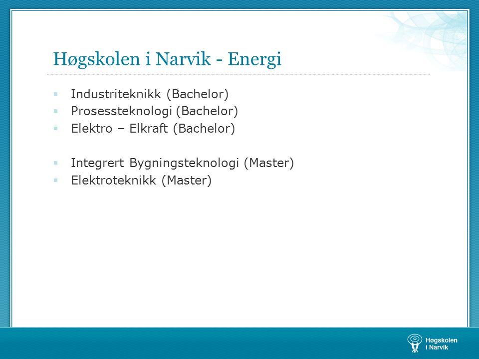 Høgskolen i Narvik - Energi  Industriteknikk (Bachelor)  Prosessteknologi (Bachelor)  Elektro – Elkraft (Bachelor)  Integrert Bygningsteknologi (Master)  Elektroteknikk (Master)