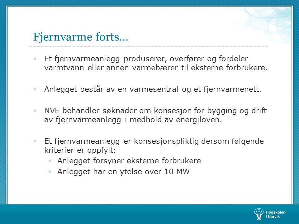 Fjernvarme forts… dd i Norge 1990-2006  Nasjonalt mål (vannbåren varme): 4TWh innen 2010