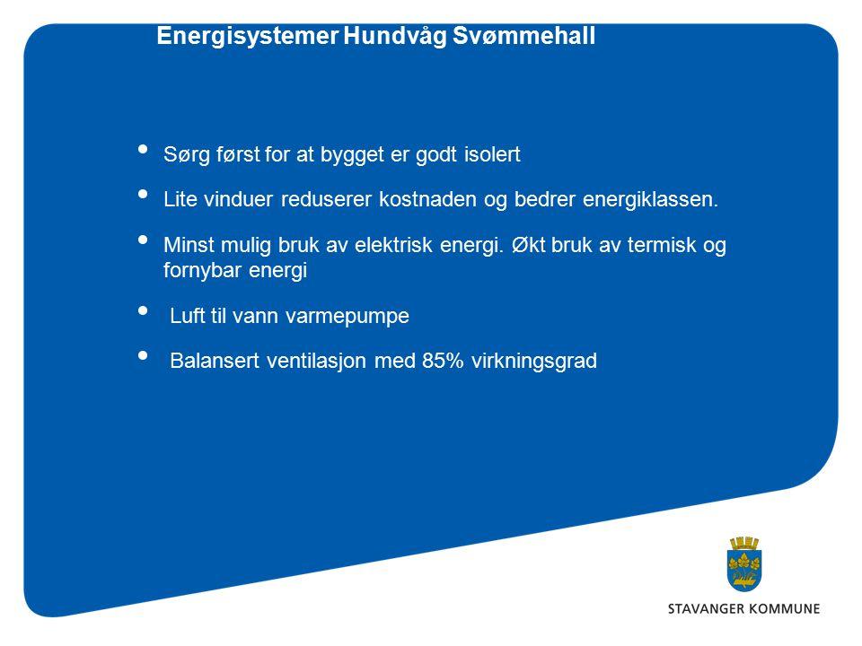 Energisystemer Hundvåg Svømmehall Sørg først for at bygget er godt isolert Lite vinduer reduserer kostnaden og bedrer energiklassen.