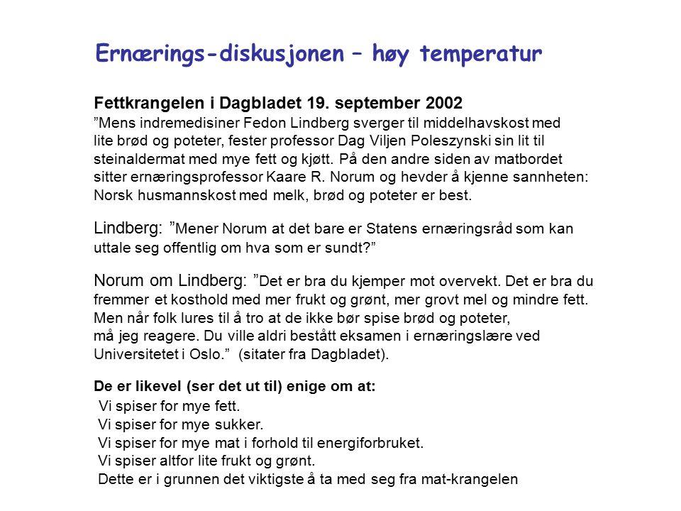 Ernærings-diskusjonen – høy temperatur Fettkrangelen i Dagbladet 19.