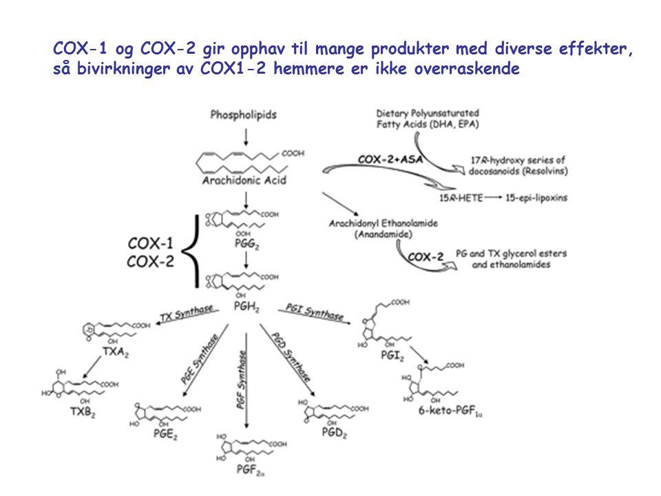 COX-1 og COX-2 gir opphav til mange produkter med diverse effekter, så bivirkninger av COX1-2 hemmere er ikke overraskende