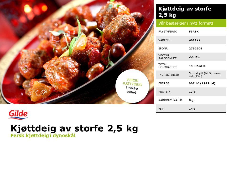 Kjøttdeig av storfe 2,5 kg Vår bestselger i nytt format.