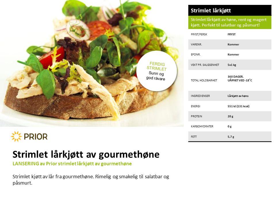 Strimlet lårkjøtt Strimlet lårkjøtt av høne, rent og magert kjøtt.