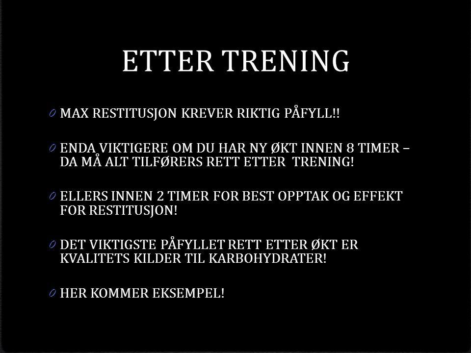 ETTER TRENING 0 MAX RESTITUSJON KREVER RIKTIG PÅFYLL!.