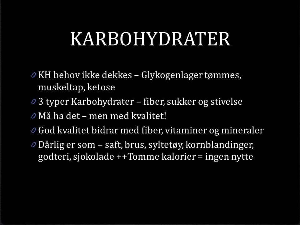 KARBOHYDRATER 0 KH behov ikke dekkes – Glykogenlager tømmes, muskeltap, ketose 0 3 typer Karbohydrater – fiber, sukker og stivelse 0 Må ha det – men med kvalitet.