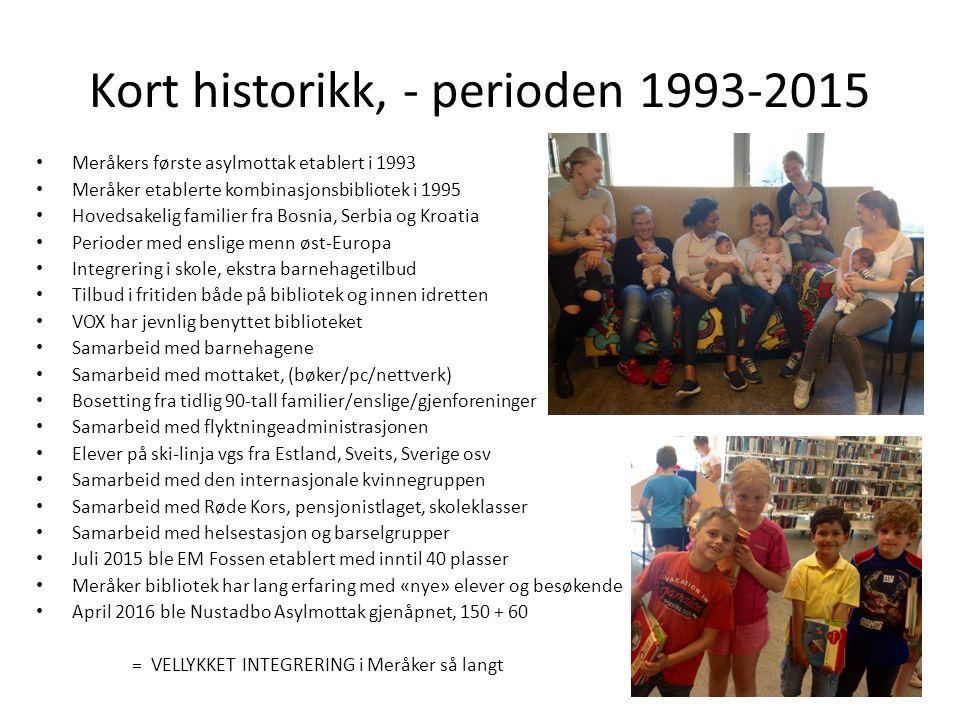 Kort historikk, - perioden 1993-2015 Meråkers første asylmottak etablert i 1993 Meråker etablerte kombinasjonsbibliotek i 1995 Hovedsakelig familier f