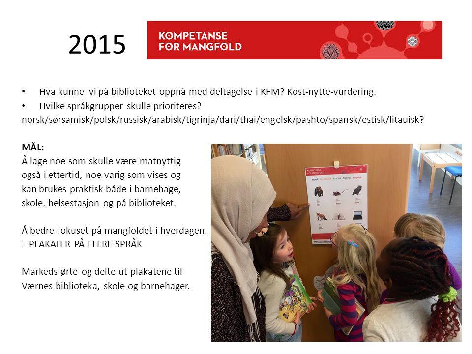 2015 Hva kunne vi på biblioteket oppnå med deltagelse i KFM? Kost-nytte-vurdering. Hvilke språkgrupper skulle prioriteres? norsk/sørsamisk/polsk/russi