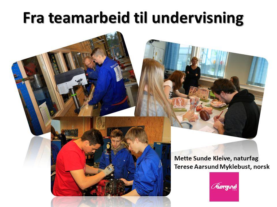 Fra teamarbeid til undervisning Mette Sunde Kleive, naturfag Terese Aarsund Myklebust, norsk