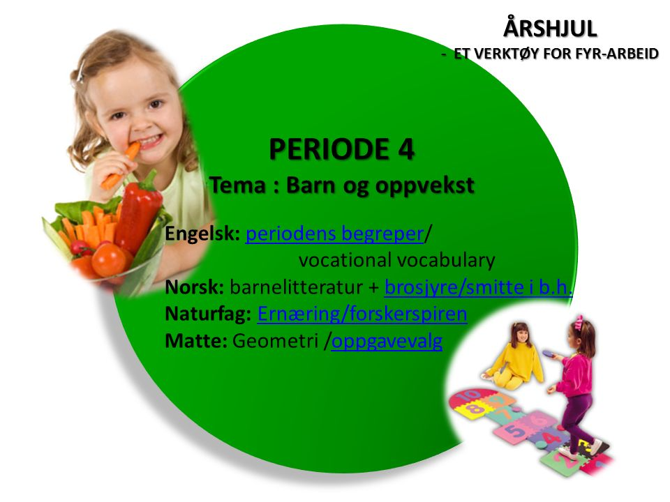 Engelsk: periodens begreper/periodens begreper vocational vocabulary Norsk: barnelitteratur + brosjyre/smitte i b.h.brosjyre/smitte i b.h.